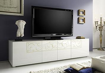 Tv schrank weiß hochglanz  TV Schrank Padua 4-türig, 190 x 48 x 51 cm, weiß hochglanz: Amazon ...