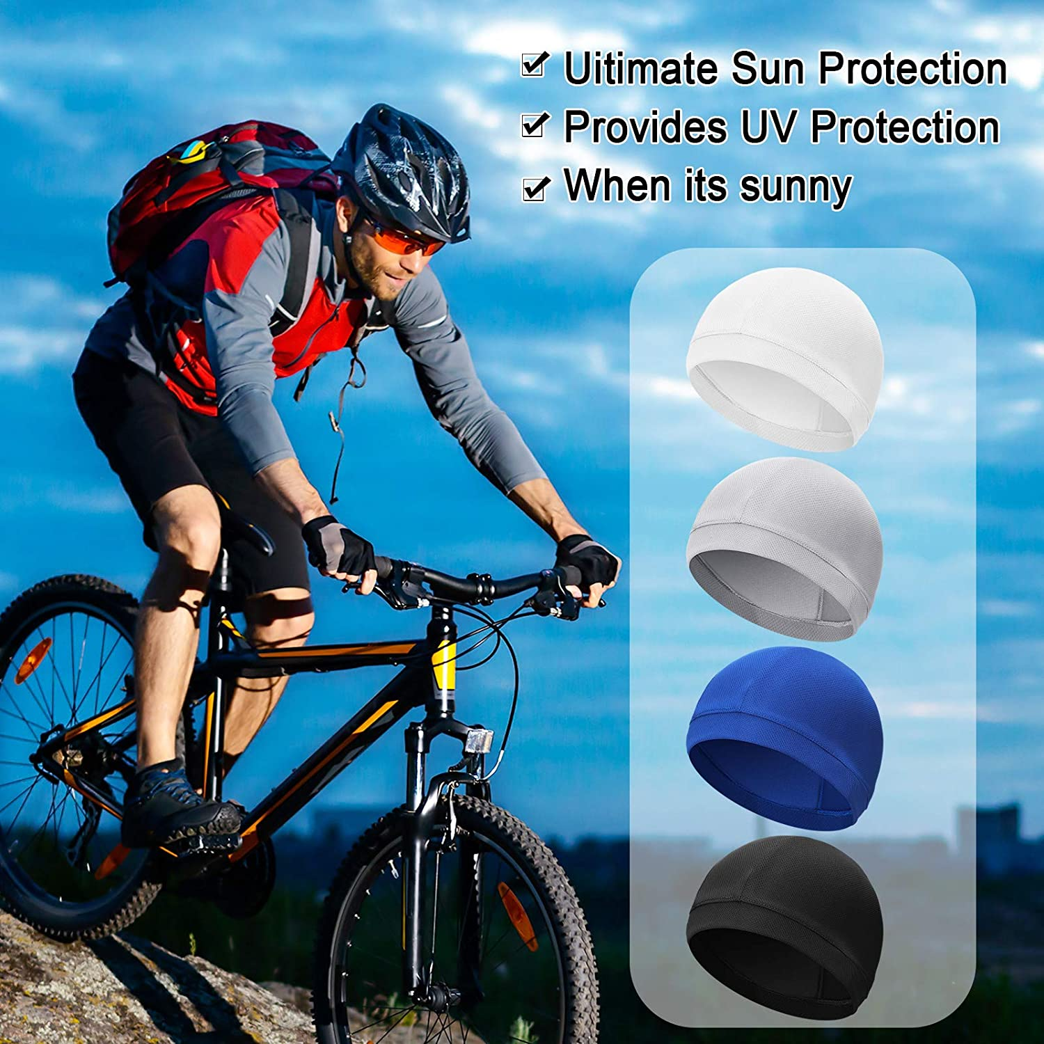 Geyoga 16 Pieces Cooling Cycling Helmet Liner Beanie Cap Sweat Wicking Hat Skull Cap Running Hat for Men and Women