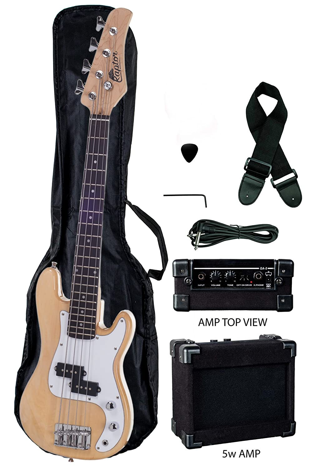 Raptor 3/4 Size 38 Inch Kid's Junior 4 String Electric P Bass Combo - NATURAL with 5W Amp, Gig Bag, Strap, Cable, Pick
