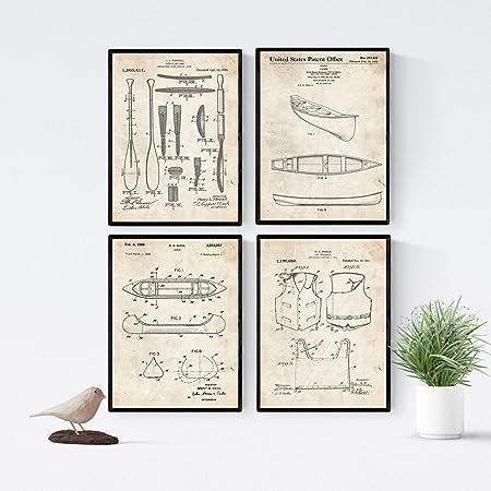 Nacnic Vintage - Pack de 4 Láminas con Patentes de Kayak. Set de ...