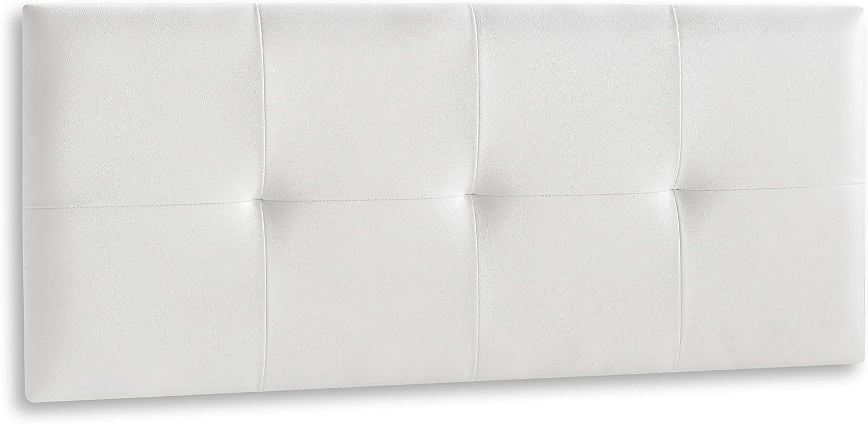 DISTRIGAL, S.L. HomeSouth - Cabecero Cama Matrimonio tapizado en símil Piel Color Blanco, Cabezal Modelo Deva, Medidas: 114,5 cm (Largo) x 49,5 cm (Alto) x 3,5 cm (Fondo)