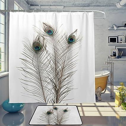 Amazon Com Naanle Peafowl Decor 3d Peacock Feathers On White