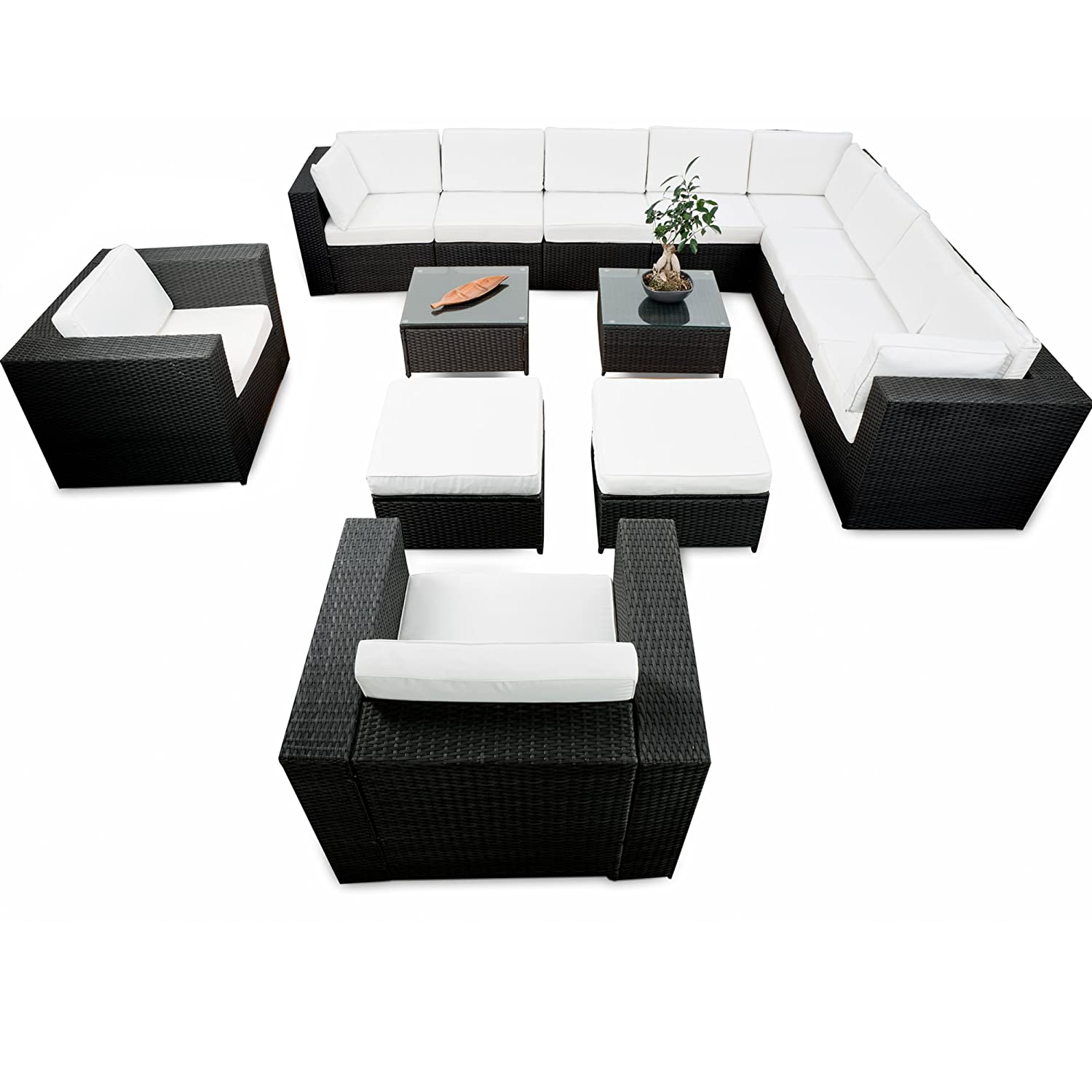 erweiterbares 41tlg xxxl lounge set polyrattan schwarz. Black Bedroom Furniture Sets. Home Design Ideas
