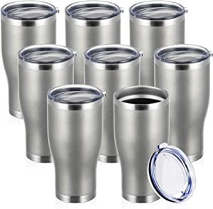 COKTIK 30 oz Stainless Steel Vacuum Tumbler with Lid(Cold Gray 8 pack) Double Walled, Durable InsulatedTravel Mug for Travel Cups,Coffee,Tea and Hot Beverage,Gift for Man (Cold Gray,Set of 8)