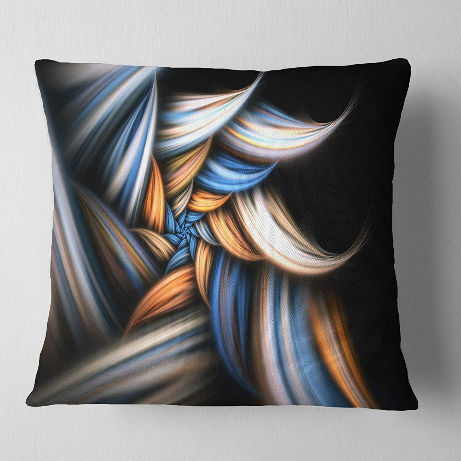 Insert Printed On Both Side in Sofa Throw Pillow 26 in x 26 in Designart CU11914-26-26 Multi Color Fractal Pattern in Black Floral Cushion Cover for Living Room