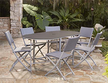 Cosco Outdoor Dining Set With Chair Storage, Folding, 7 Piece, Navy And Gray