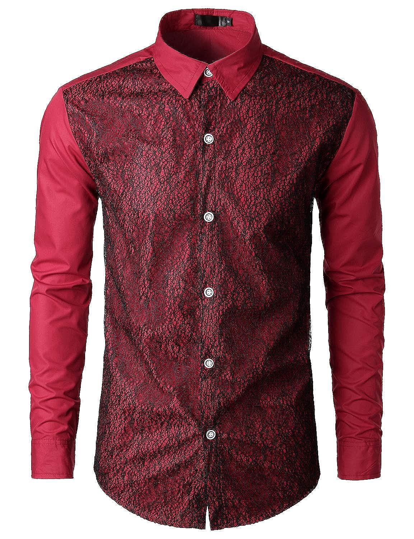 SOWTEE Mens Vintage Button Down Long Sleeve Regular Fit Dress Shirt