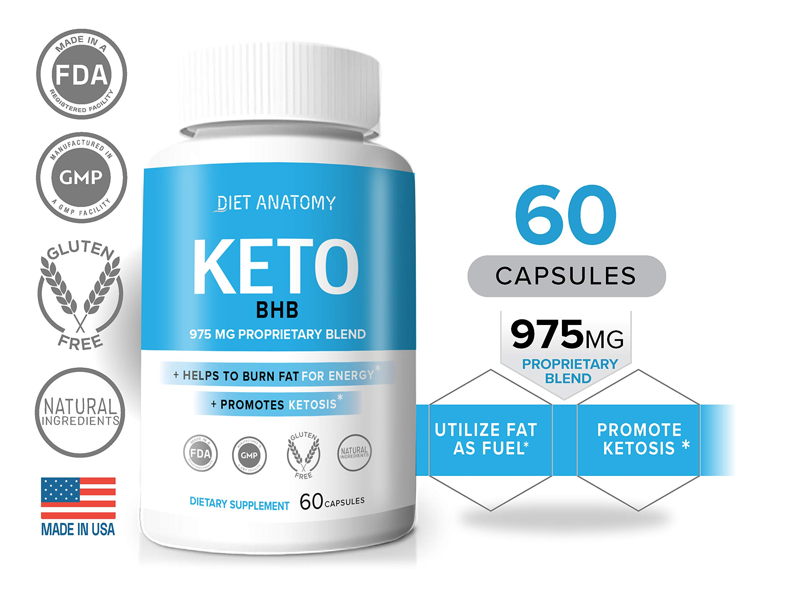 Diet Anatomy Keto, 975MG Proprietary Blend, Helps to Burn Fat for Energy, Promotes Ketosis