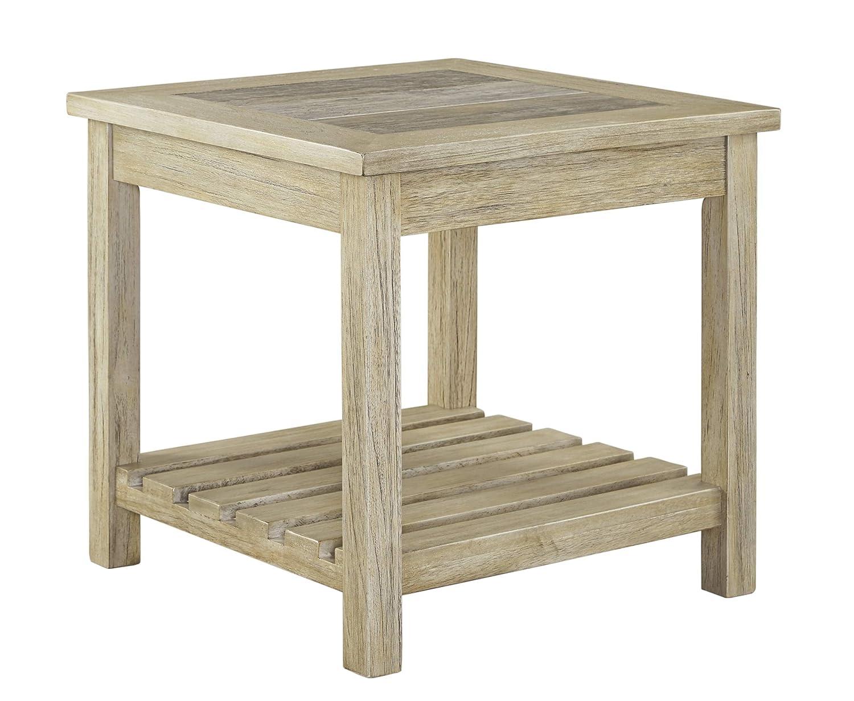 Amazon com ashley furniture signature design veldar end table vintage style whitewash kitchen dining