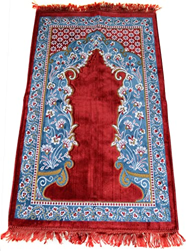 Prayer Rug Carpet Islamic Muslim Salah Meditation Mat Turkish Exquisite Red