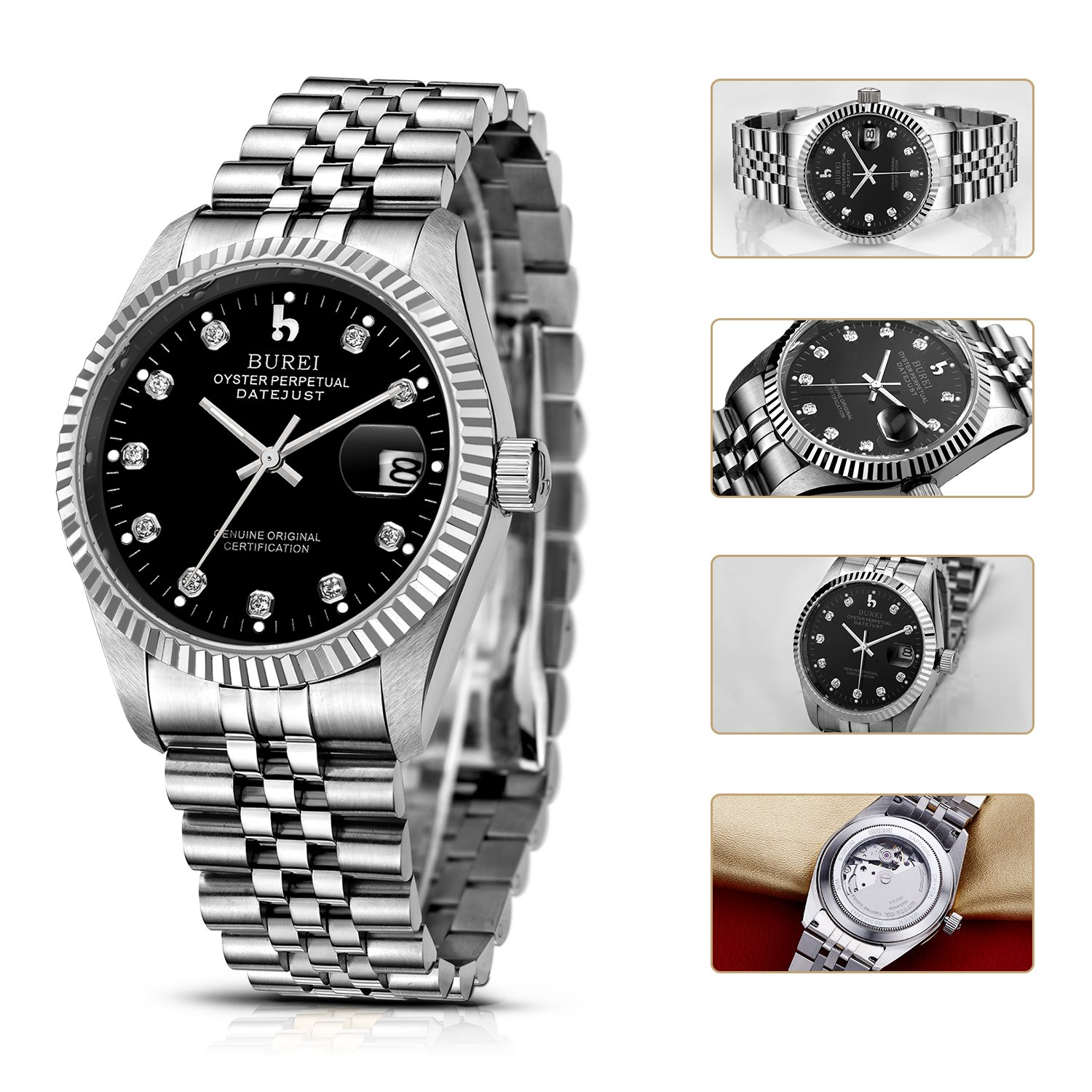 BUREI Business Men's Mechanical Skeleton Automatic Wrist Watches Sapphire Crystal Stainless Steel (black) by BUREI (Image #4)