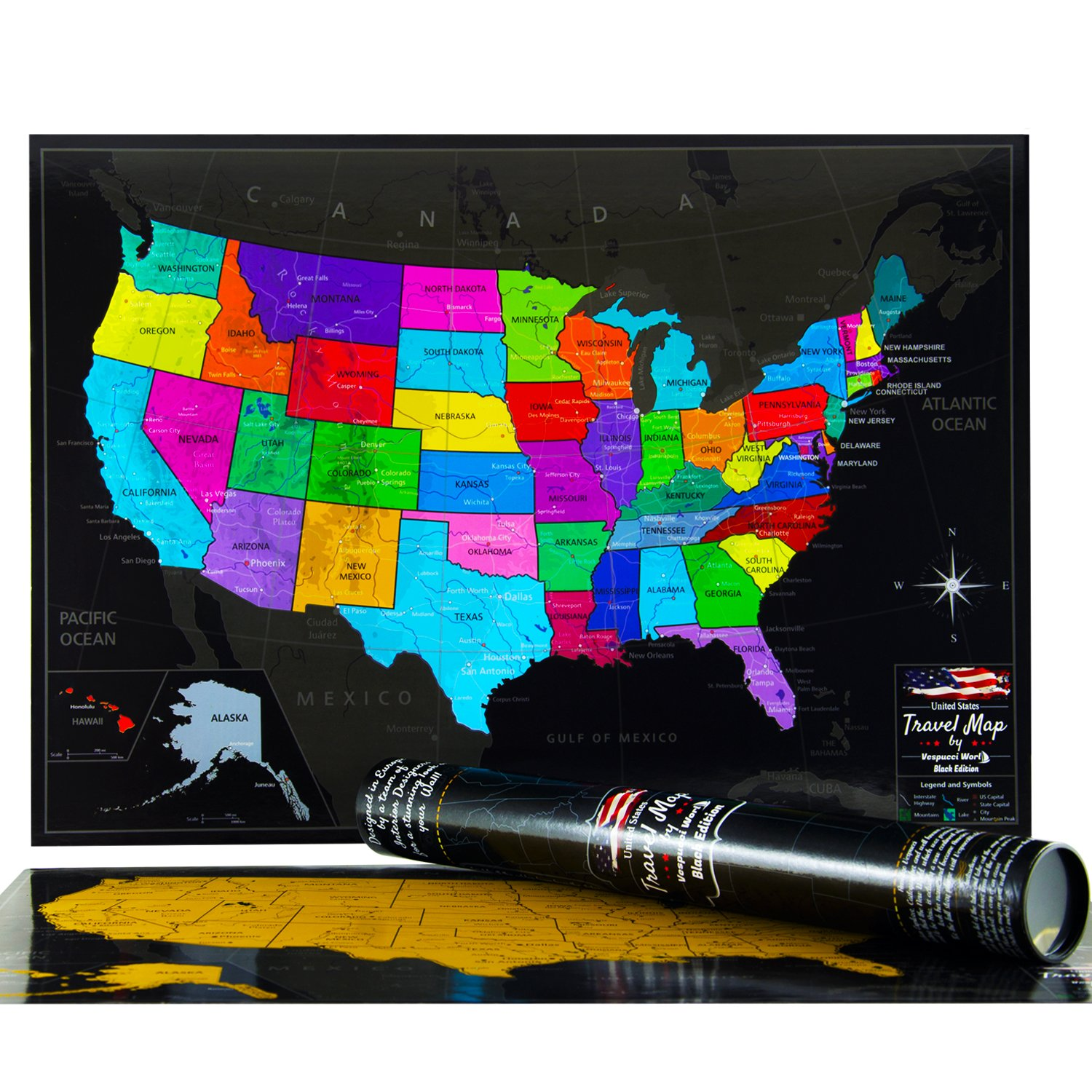 Laminated USA Scratch Off Map The Ultimate US Travel Tracker By - Us travel map poster