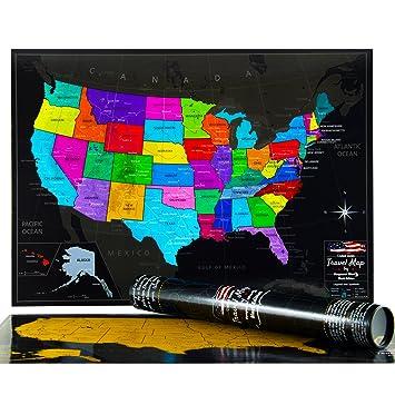 Amazoncom Premium US Map By VespucciWorld Laminated Scratch - Large us maps laminated