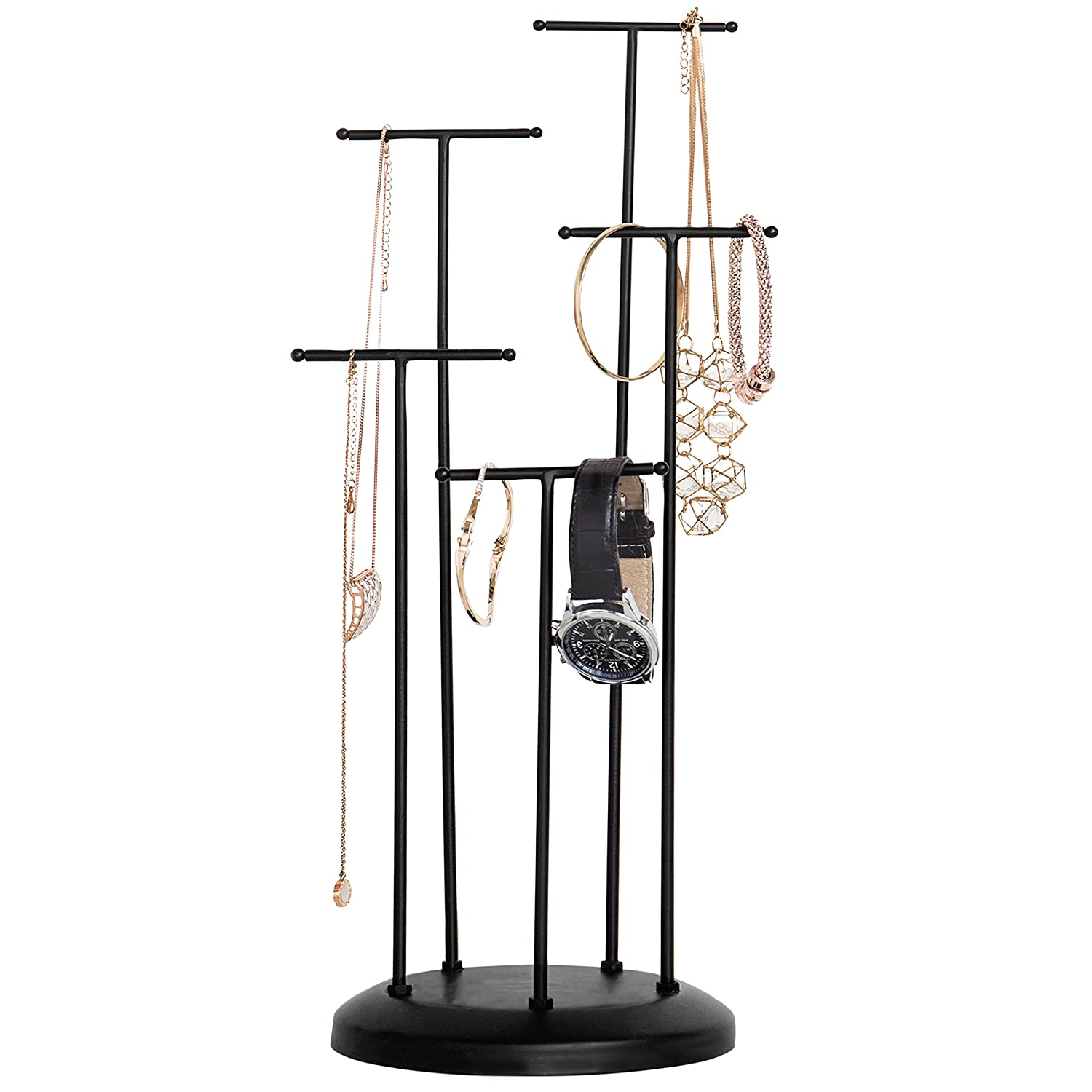 5-Tier Modern Matte Black Metal T-Bar Necklace Jewelry Organizer and Display Stand Rack MyGift