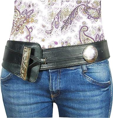 Almadih Adventure Leather Belt – 100% Handmade from Cowhide Leather – Leather Hip Belt Women's Waist Belt Oriental Look Vintage Cognac Brown Black