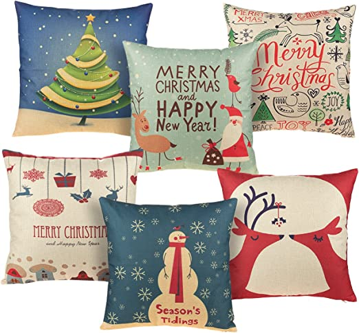 Christmas Pillow Case Cotton Linen Pillow Cushion Cover Throw Home Decor V-i
