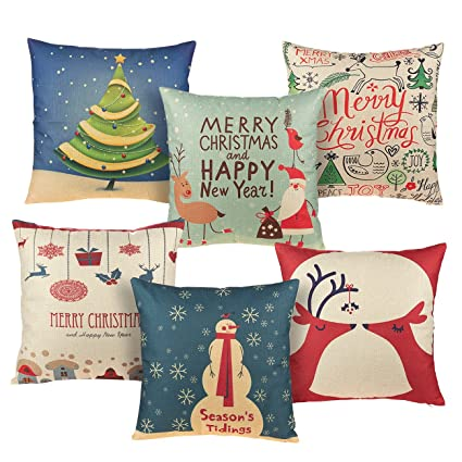 Juvale Christmas Throw Pillow Covers - 6-Pack Colorful Decorative Couch Throw Pillow Cases, Vintage Christmas Illustration Design, Festive Home Decor Cushion Covers, Fits 18 x 18 Pillows best Christmas throw pillows