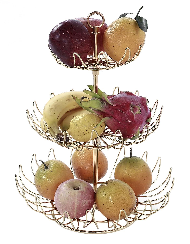 VILAVITA 3 Tier Decorative Wire Fruit Basket Countertop Fruit Vegetable Display Holder Stand, Gold