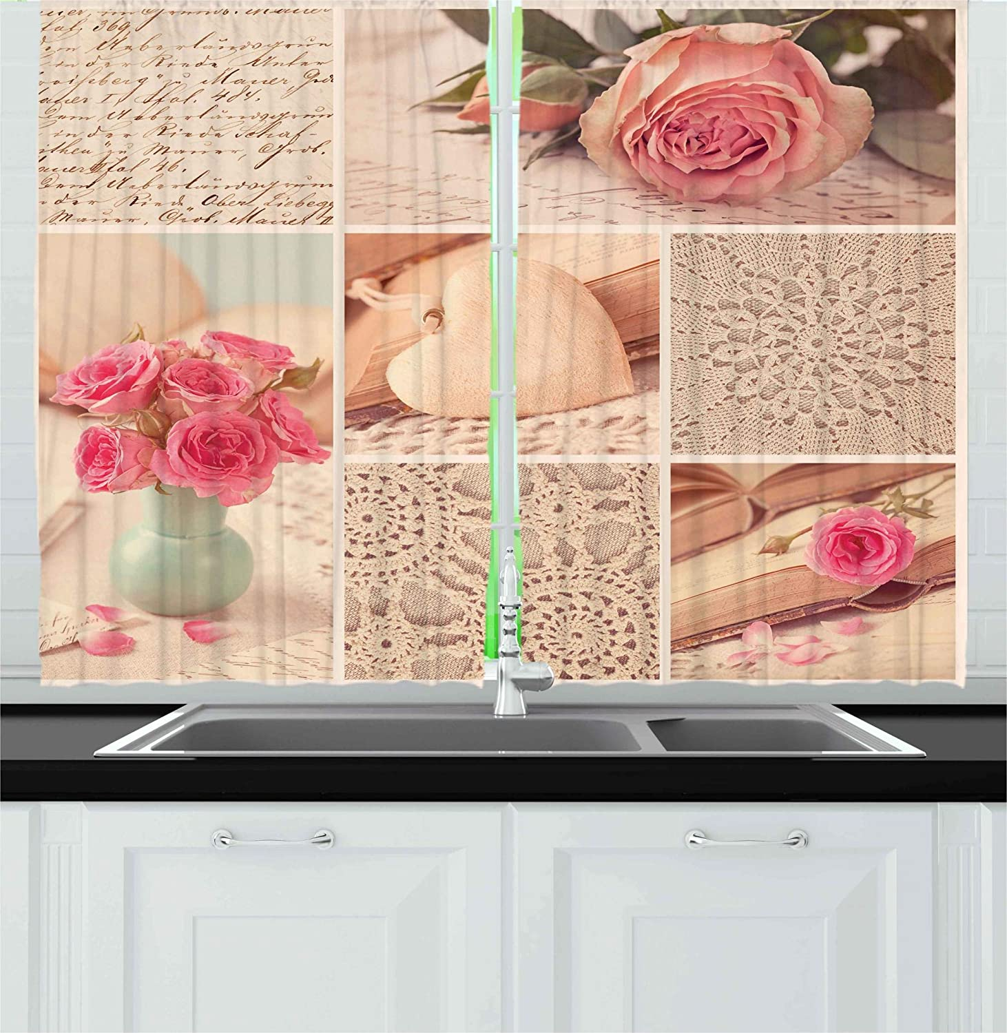 Ambesonne Shabby Chic Kitchen Curtains, Collage Photos Lace Roses Flower  Leaves Old Art Print, Window Drapes 2 Panels Set for Kitchen Cafe, 55 WX 39  L ...
