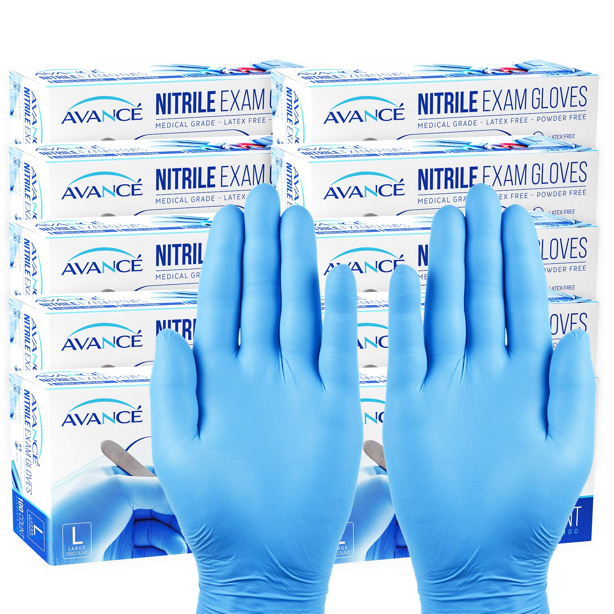 Avancé Nitrile Exam Gloves Medical Grade Powder-Free Textured Fingertips Latex-Free Synthetic Rubber Non-Sterile Disposable Ambidextrous Single Use, 3 Mil Thickness, Blue, Large, 10-Pack (1000) by AVANCÉ