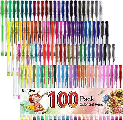 Umitive 100 Bolígrafos Gel Colores, De Tinta Gel , Punta Fina Sin Derrames , Vibrantes Colores-Purpurina, Metalizados, Pastel, Neón, Para Libro De Colorear, Dibujo, Escritura y Garabatos: Amazon.es: Oficina y papelería