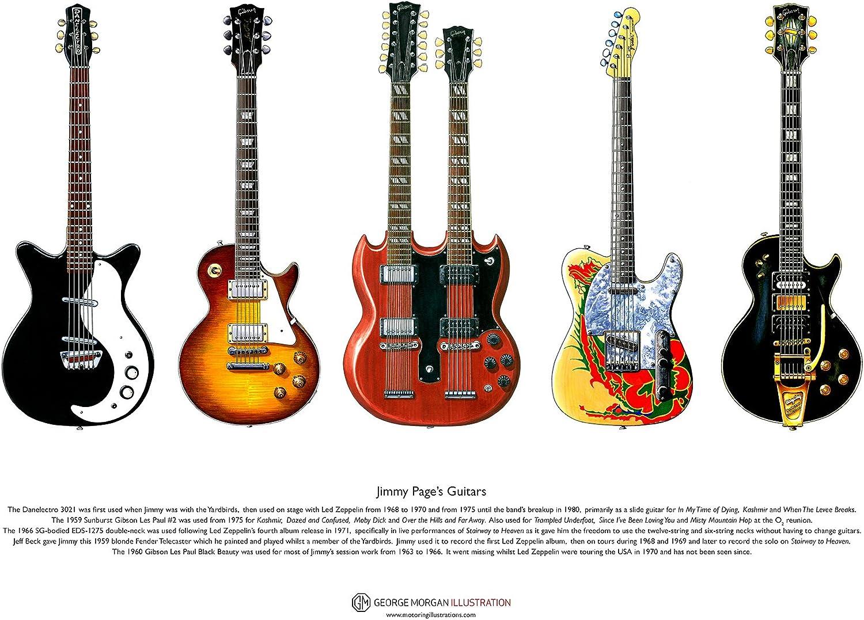 George Morgan Illustration Las Guitarras de Jimmy Page Cartel de ...