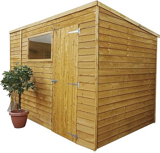 3x1.8 m, cobertizo de jardín en madera solapada, tela asfáltica, una sola puerta y ventana, de Waltons.: Amazon.es: Jardín