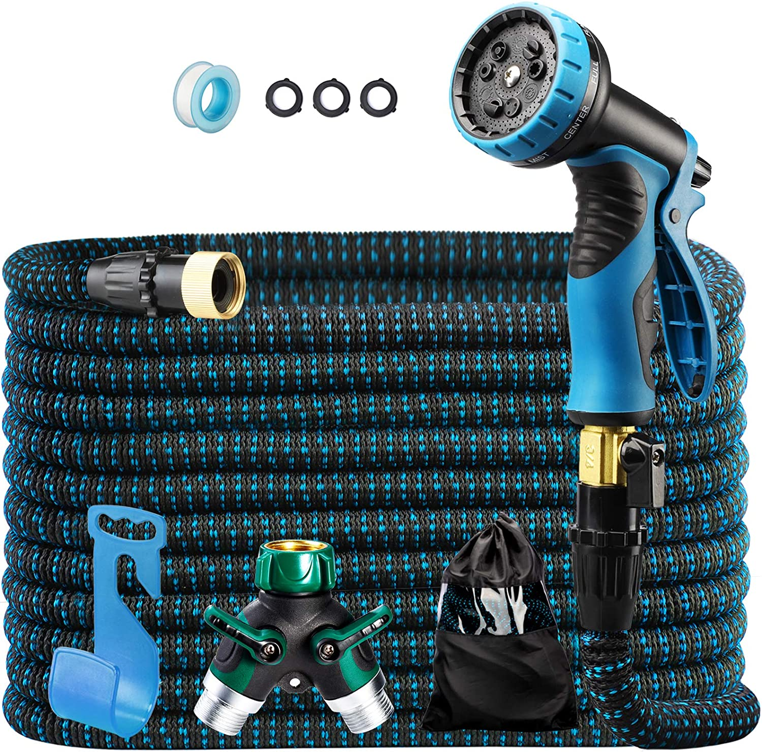 """100ft Expandable Garden Hose Flexible Water Hose in 9 Functions, Heavy Duty with 3/4"""" Brass Fittings, High-Pressure Metal Spray Nozzle - Blue"""
