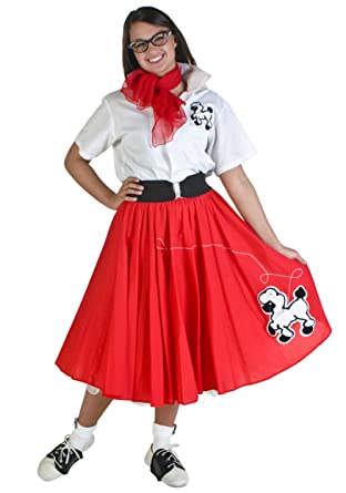 dc6b60b468696 Amazon.com: Complete 7-Piece Adult Poodle Skirt Outfit: Clothing