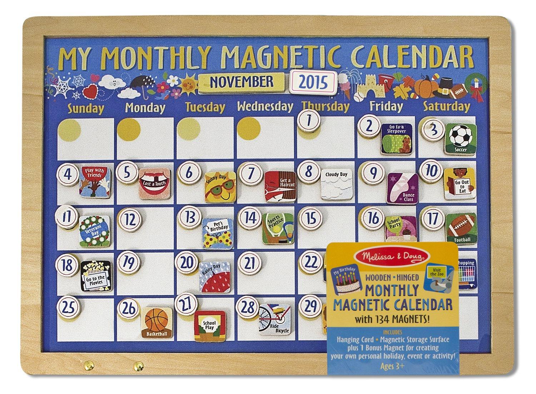 Amazon Com Melissa Doug Deluxe Wooden Magnetic Calendar With 134