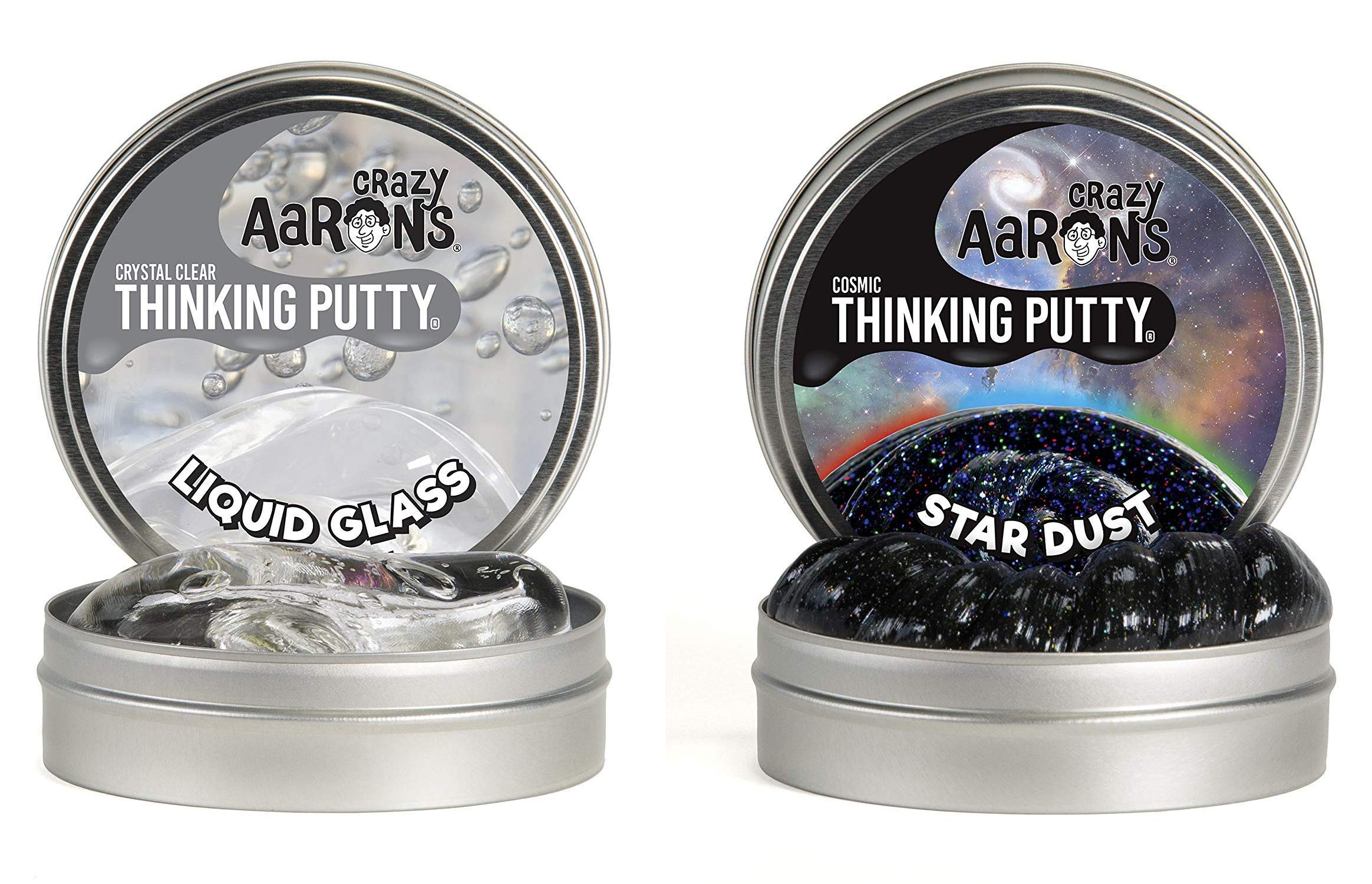 Crazy Aaron's Thinking Putty 4'' Tin Double Pack (6.4 oz) - Liquid Glass and Cosmic Star Dust - Crystal-Clear, See-Through and Multi-Colored Glow Putty- Never Dries Out by Crazy Aaron's Thinking Putty