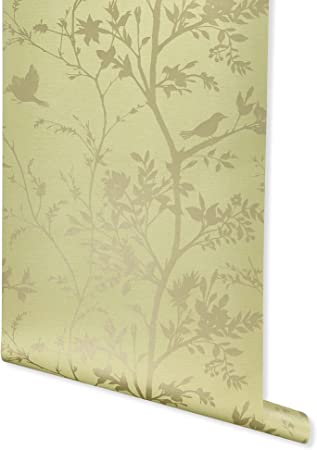 Innocence Lemon Green Wallpaper For Walls Double Roll By