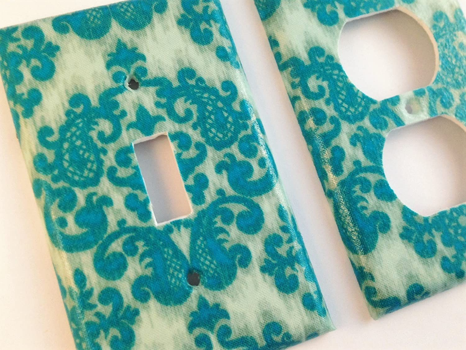 Teal Damask Light Switch Cover - Various Size Switchplates Offered