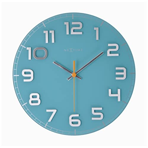 Unek Goods Nextime Classy Wall Clock, Decorative, Big Numbers, Glass, Battery Operated, Round, Turquoise, Shiny Silver