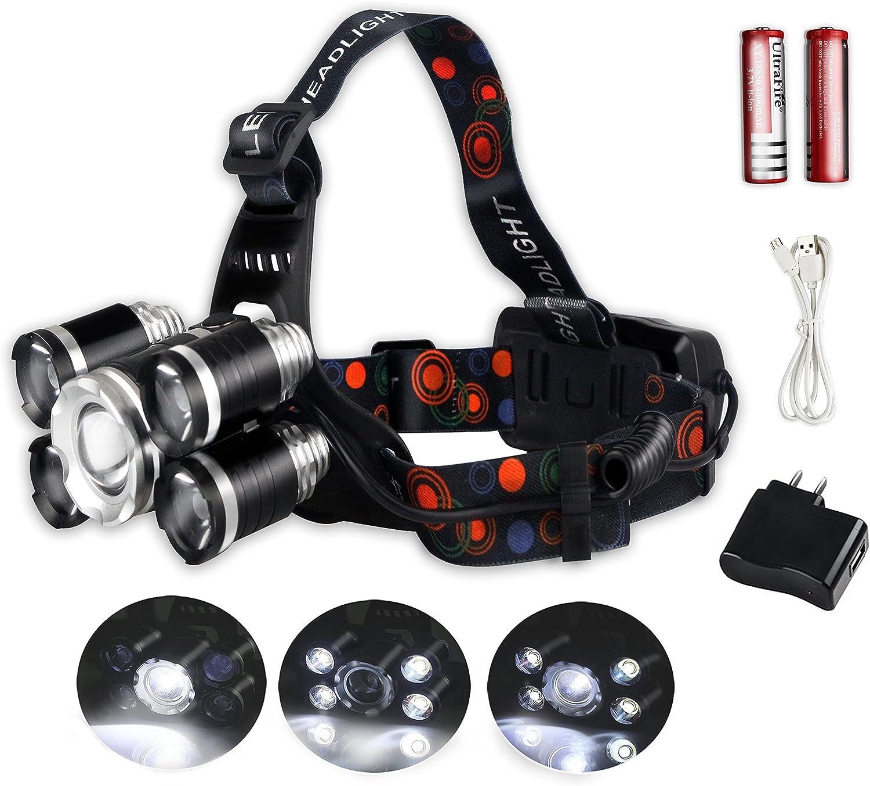 JUMPFISCH Linterna Frontal con 5 LEDs y 4 Modos,Rango 200-500m,15000 LUMEN,para Acampar Correr Trotar Montar a Caballo Pescar ir de Excursión Mantenimiento Emergencia(Baterías recargables contener)
