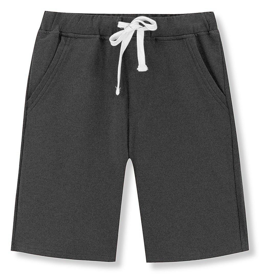Mr.Zhang Men's Casual Cotton Elastic Gym Shorts Gray-US 30