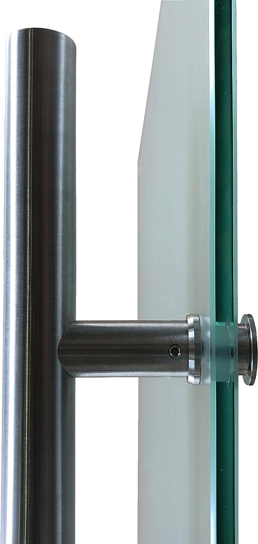 1025 x 2050 mm, Soft-Close Selbsteinzug Slimline Alu-Schinensystem mit Griffstange 420mm eckig Wandseite Flach Schiebet/ürsystem ESG Dekor Satiniert mit klare Streifen P1-Alu mit 30mm Wandabstand