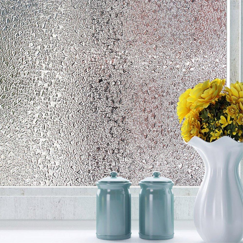 velimax雨ウィンドウフィルムStatic Clingウィンドウフィルムクリスタル装飾雨ウィンドウフィルム窓ガラスフィルムウィンドウフィルムhalf-privacyコントロール熱17.7