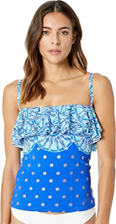 5b71b427135ec4 Lilly Pulitzer Women's Belize Tankini Top Blue Grotto Squeeze The Juice  Engineered Swim 2