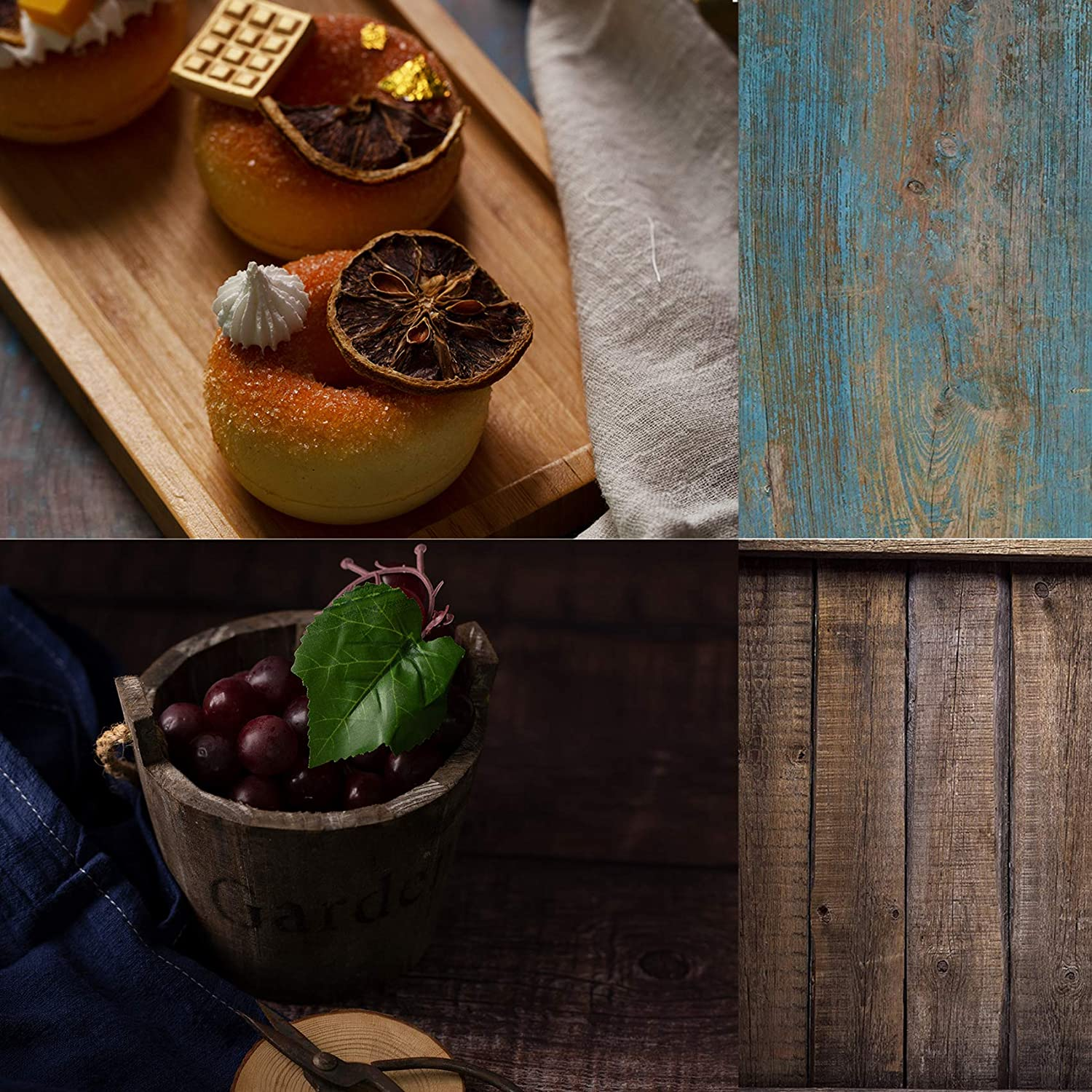 Selens 2x3ft/60x90cm Blue Wood Photography Backdrop Paper 2 in 1Flat Lay Backdrops Food Photography Background Tabletop Backdrop Props for Jewelry Makeup Small Product Desktop Backdrop