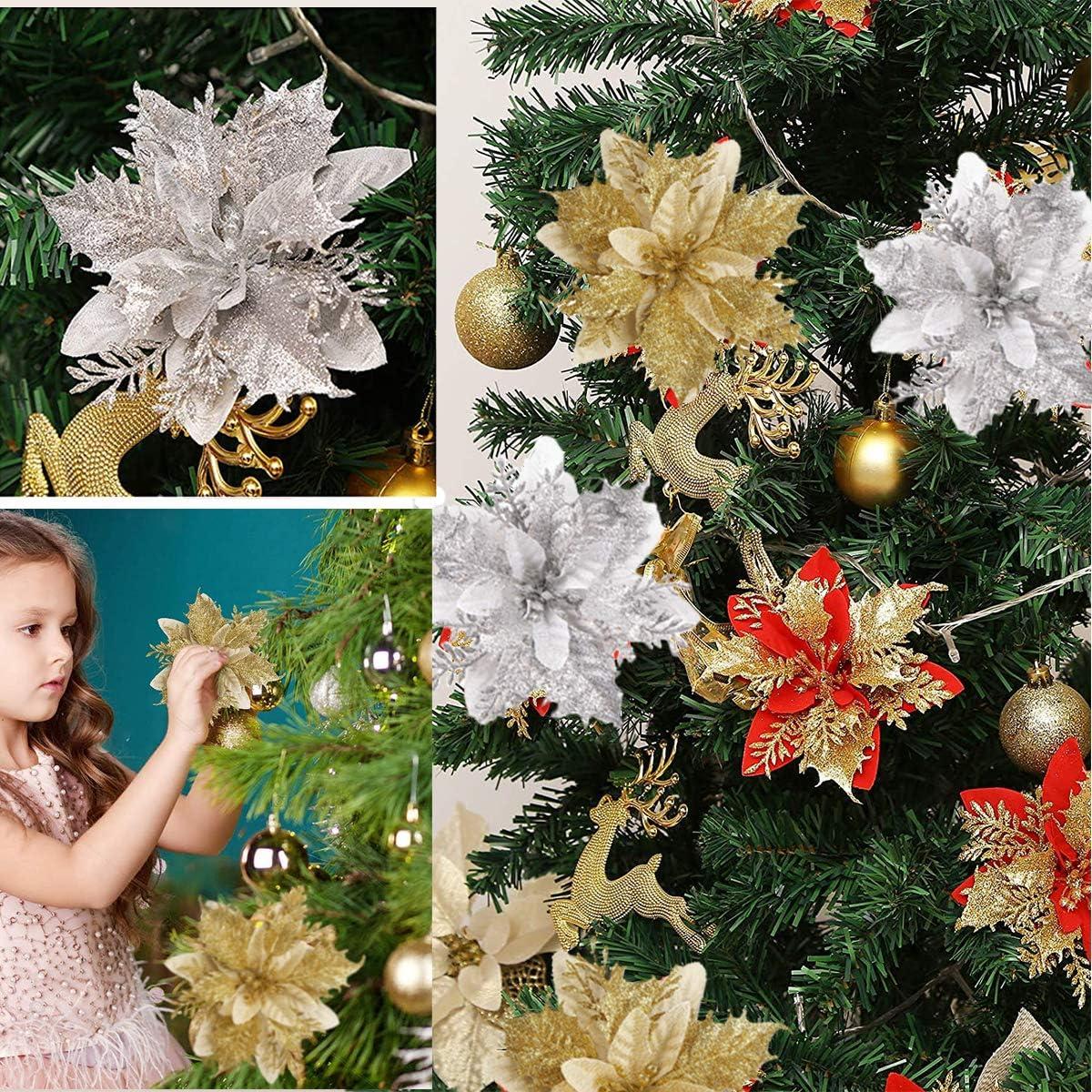 ODOOKON 3 Pcs Flores de Navidad Adorno Brillo Artificial Navidad Flores Rojas Dcoracion Flores Oro Artificales para /Árbol de Navidad y Guirnalda Rojo Dorado Plata