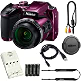 Nikon COOLPIX B500 16MP 40x Optical Zoom Digital Camera Bundle includes Camera, 4 AA Rechargeable Batteries + Charger MH-73, Cables and More (Purple)