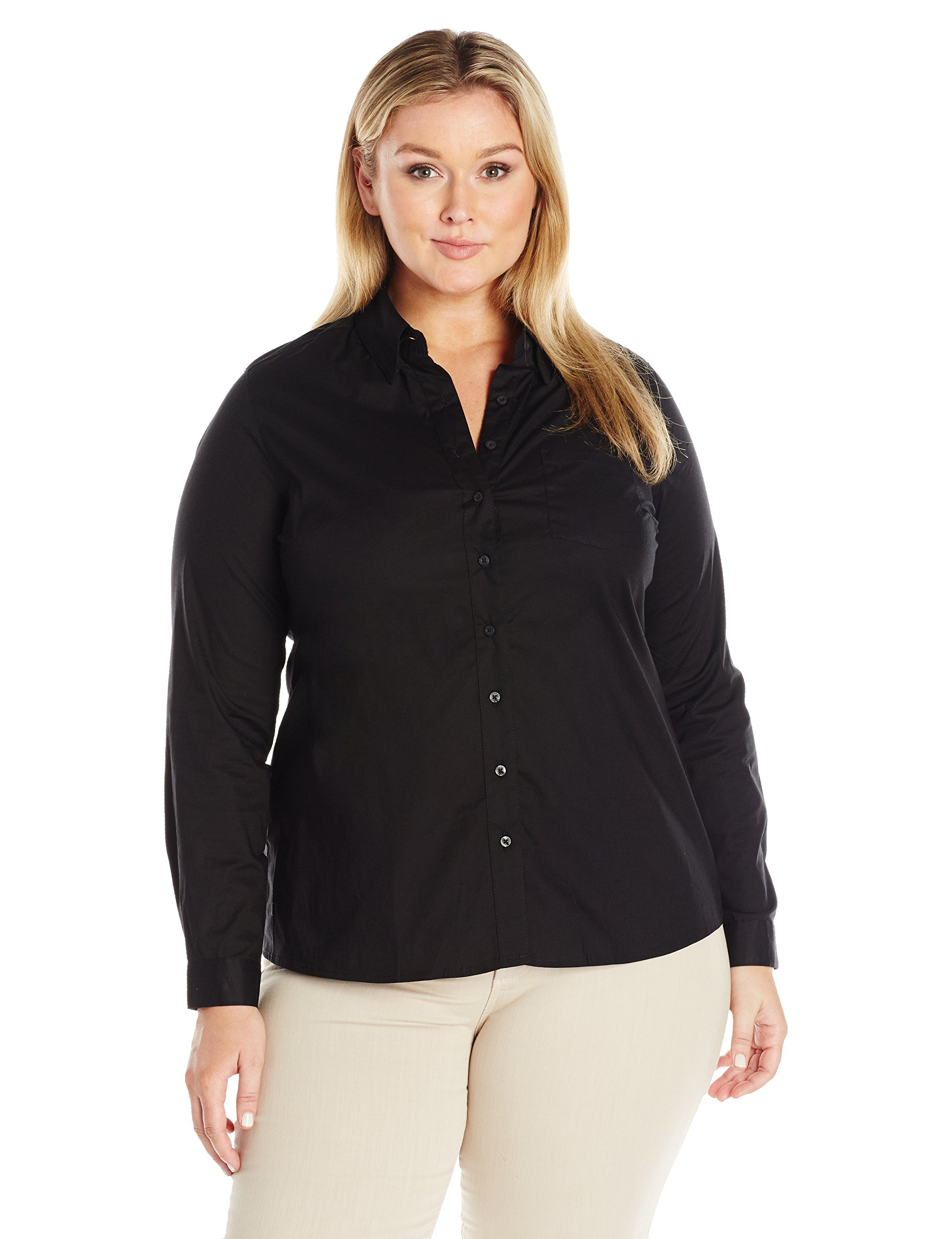 Dickies Girl Juniors Plus Size Long Sleeve Shirt, Black, 1X