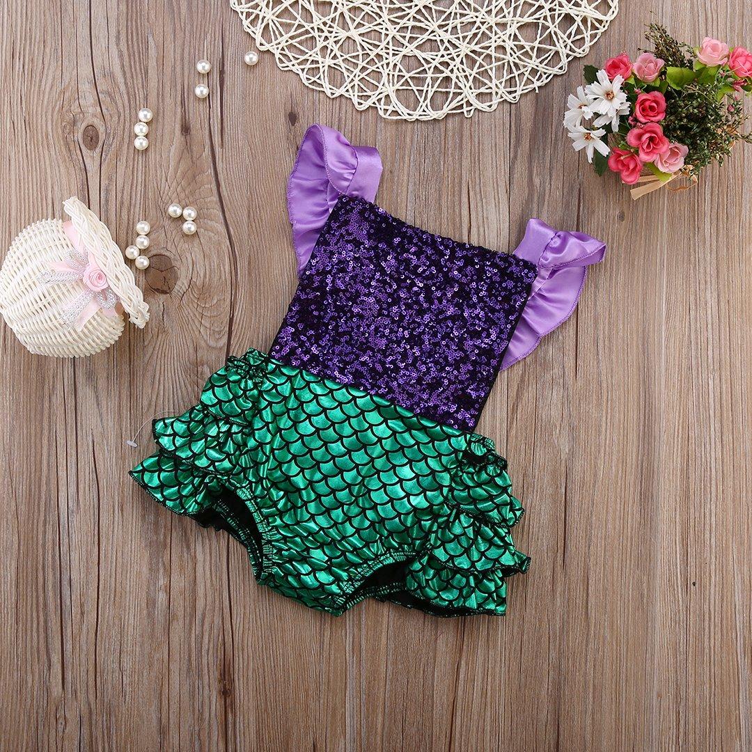 Baby Girl Sequins Mermaid Bodysuit Romper Jumpsuit Outfit Sunsuit Clothes