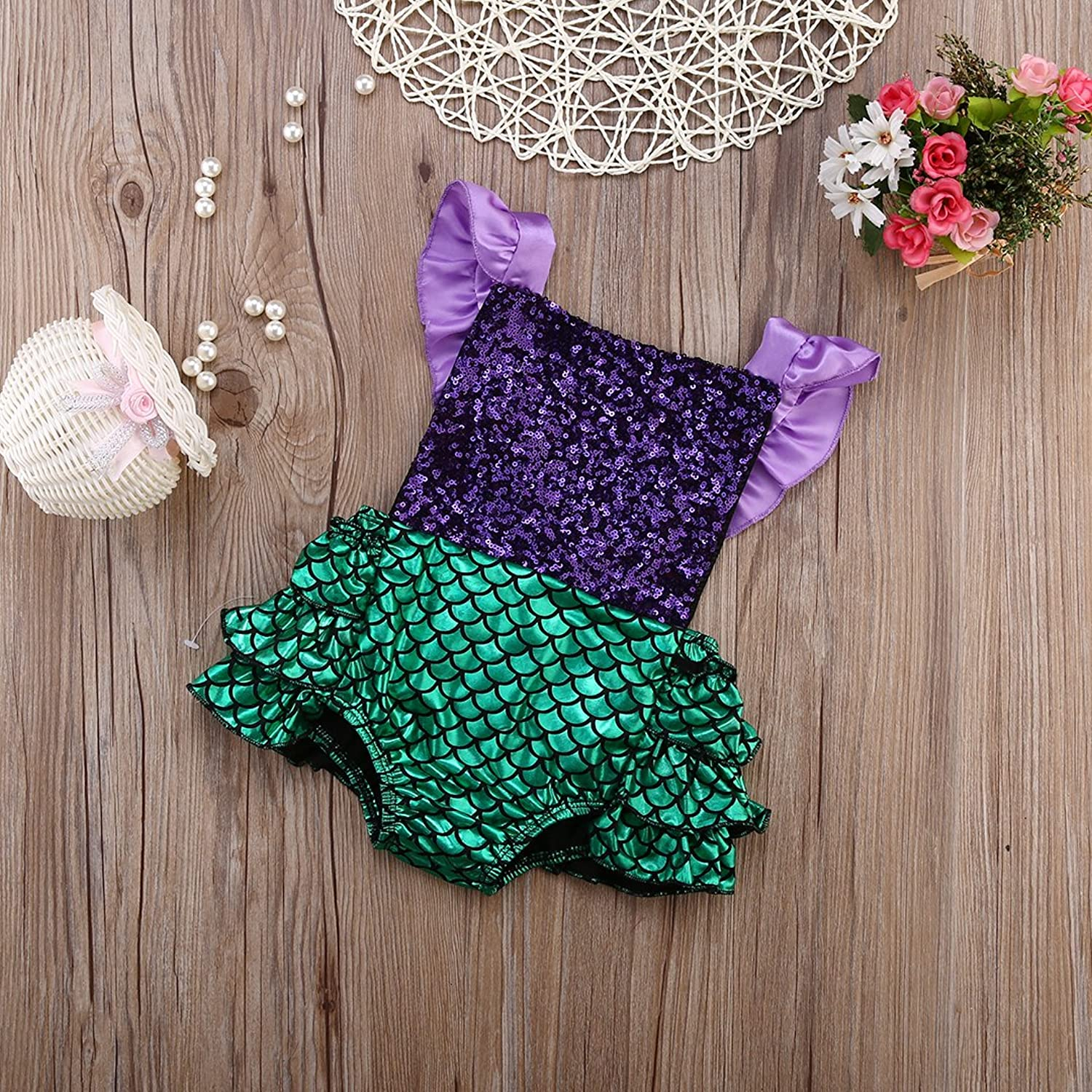 Amazon Hotone Baby Girl Sequins Mermaid Bodysuit Romper
