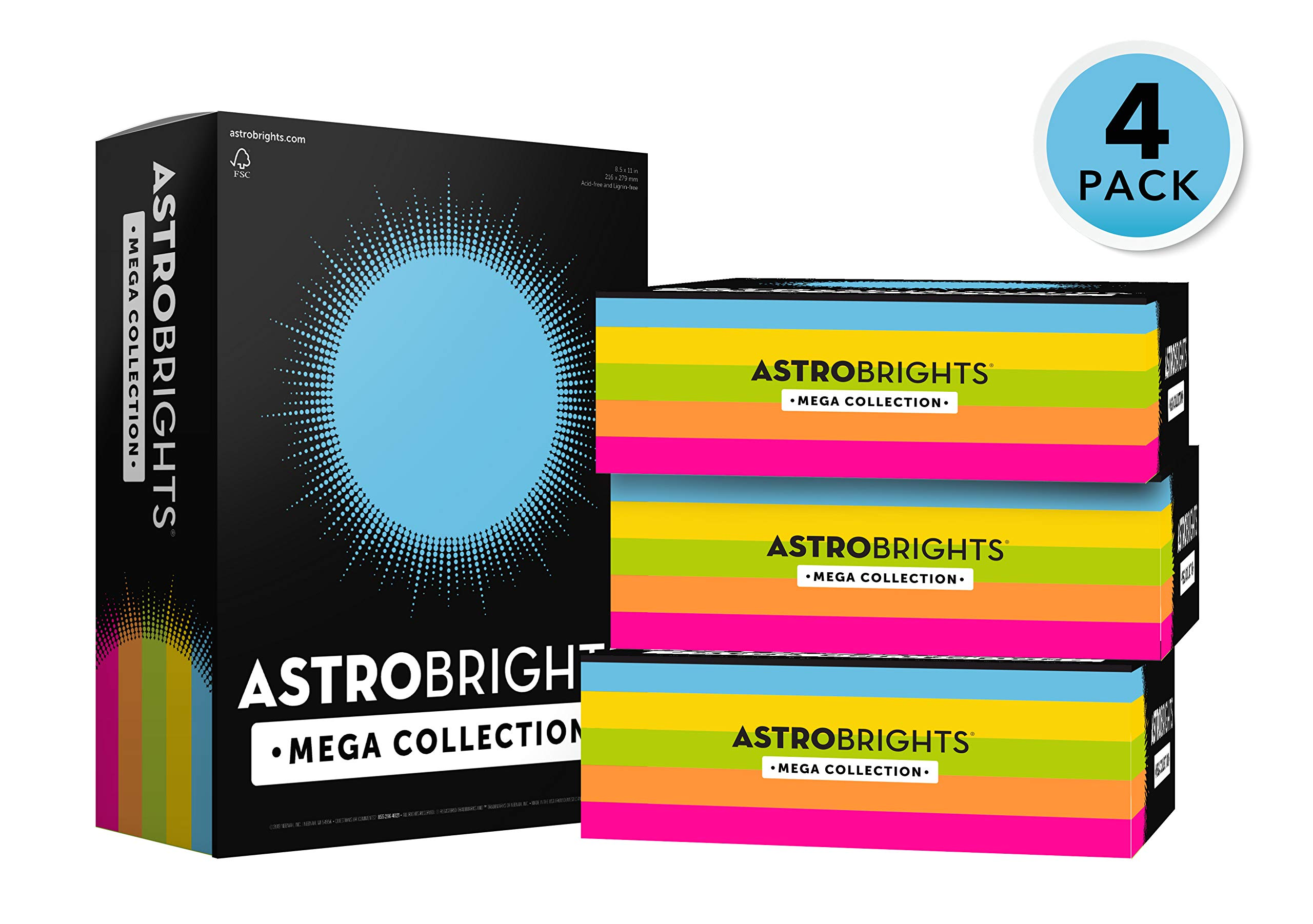 Astrobrights Mega Collection, 2500 Sheets,''Classic'' 5-Color Assortment, Colored Paper, 24 lb/89 gsm, 8 ½ x 11 - MORE SHEETS! (91623-02) by Astrobrights