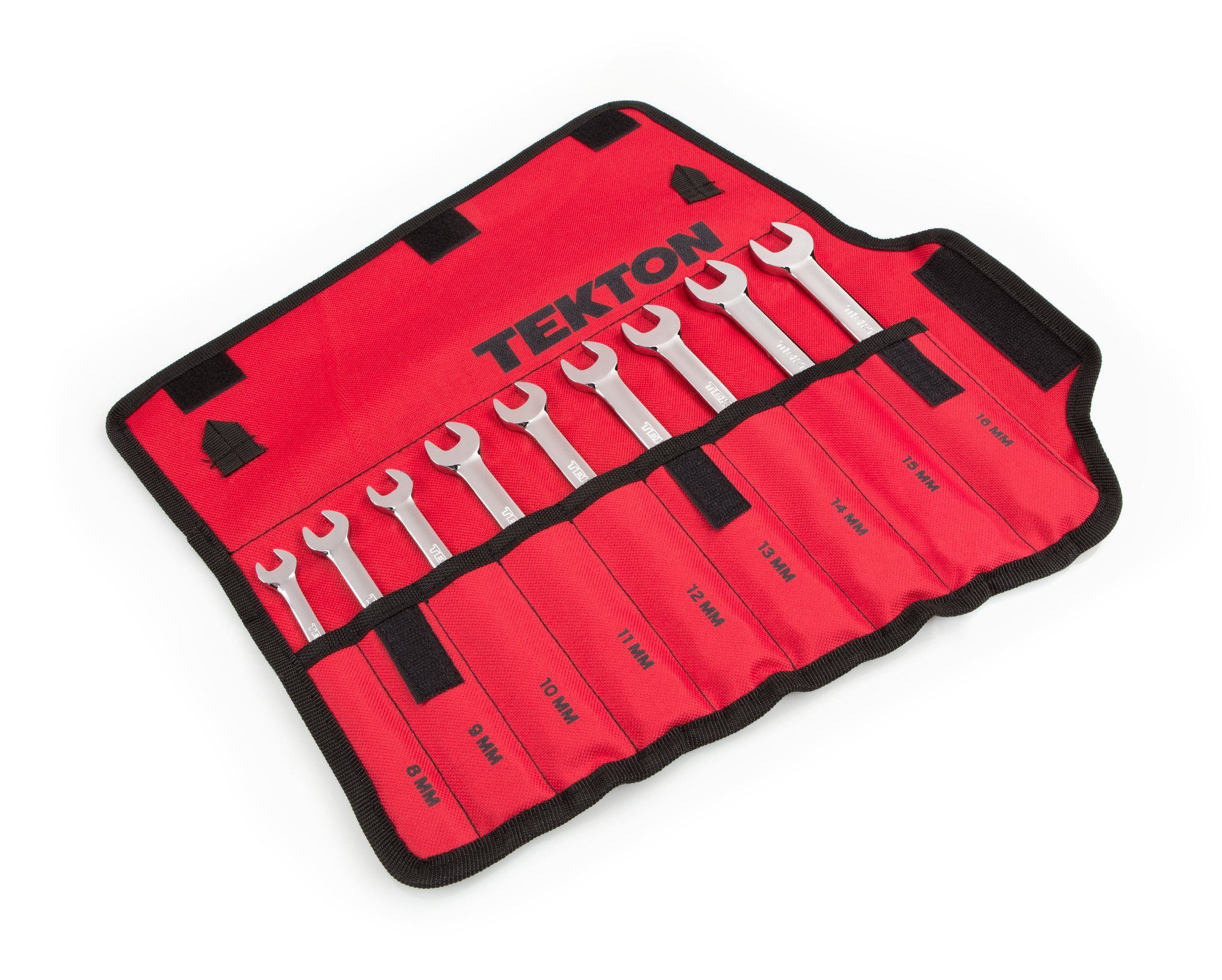 TEKTON WRN53187 Ratcheting Combination Wrench Set with Roll-up Storage Pouch, Metric, 8 mm - 16 mm, 9-Piece