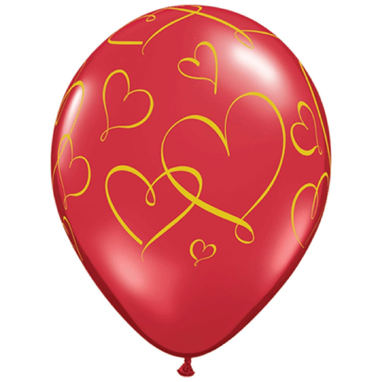 RUBY RED 11, Qualatex Latex Balloons 40207-Q ROMANTIC HEARTS GOLD