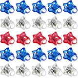 24 Pack 4th of July Party Favors Supplies LED Light Up Ring Red White and Blue Stars Kids Toys Women Men Patriotic Party Acce