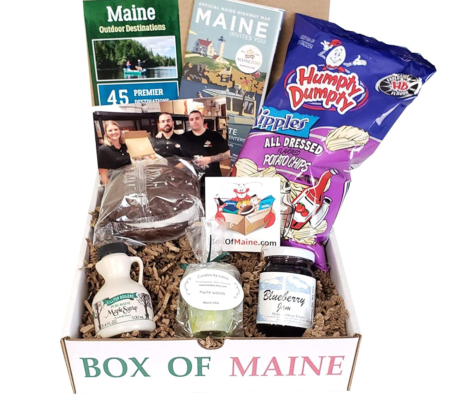 Box of Maine - 5-item Gift Pack - Humpty Dumpty All Dressed, Chocolate Whoopie Pie, Wild Maine Blueberry Jam, Maine Maple Syrup and Maine Woods Candle